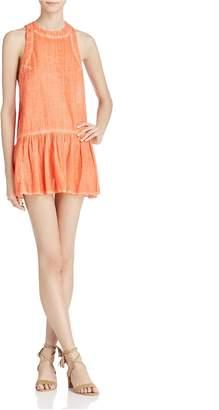 Free People Womens Ruffled Sleeveless Mini Dress Orange M