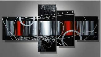 100% Hand-painted Wood Framed Red Back Clouds Home Decoration Modern Abstract Oil Painting on Canvas 4pcs/set Mixorde
