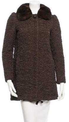 Prada Mink-Trimmed Gaufre Coat