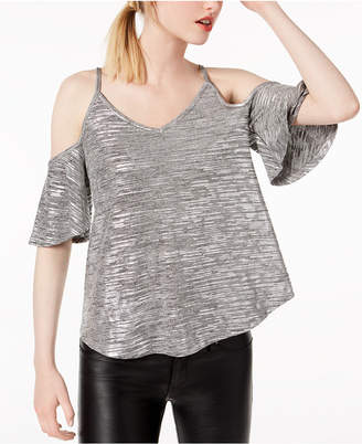 Bar III Metallic Spacedyed Cold-Shoulder Top, Created for Macy's
