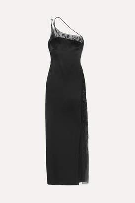 Cushnie - One-shoulder Embellished Lace-trimmed Charmeuse Gown - Black