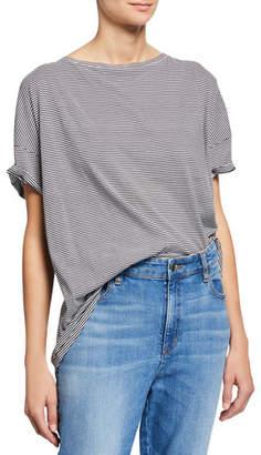 Eileen Fisher Mini-Stripe Bateau-Neck Short-Sleeve Tee, Petite