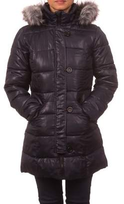 Unbranded Juniors Down Blend Hooded Puffer Coat with Detachable Faux Fur Rim