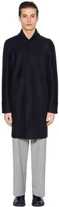 Emporio Armani Boiled Wool Coat W/ Knit Collar
