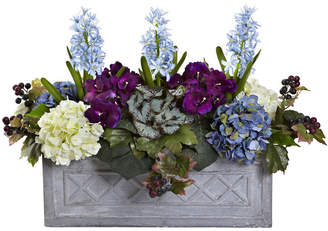 Nearly Natural Hyacinth and Hydrangea Artificial Arrangement in Stone Planter