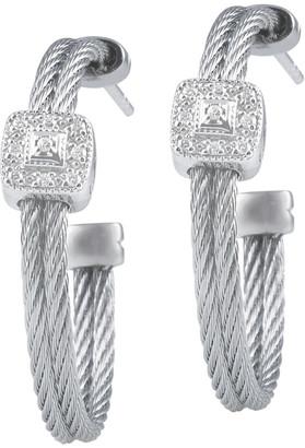 Alor Classique 18K White Gold Stainless Steel Diamond Hoop Earrings