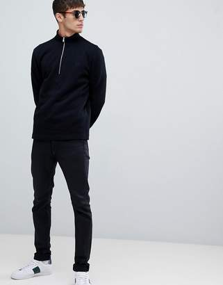 Fred Perry half zip funnel neck sweat in black