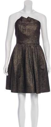 Halston Metallic Strapless Dress