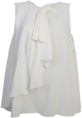 Alexander McQueen White Tie Neck Blouse