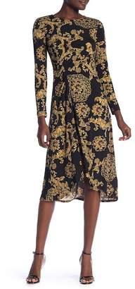 Donna Morgan Patterned Ruched Hi-Lo Dress