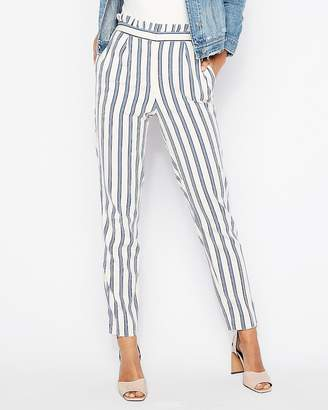 Express High Waisted Stripe Ruffle Ankle Dress Pant