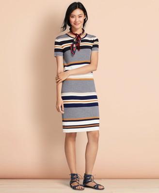 Brooks Brothers Striped Rib-Knit Dress