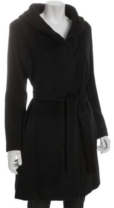 Anne Klein black wool-mohair tie waist hooded coat
