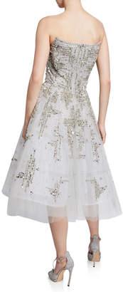 Pamella Roland Sequin & Crystal Embellished Strapless Fit & Flare Cocktail Dress