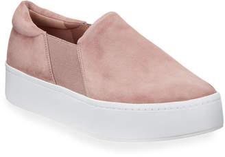 Vince Warren Suede Slip-On Platform Sneakers