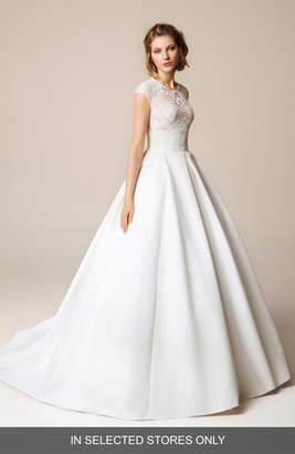 Jesús Peiró Lace Cap Sleeve Open Back Wedding Dress