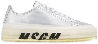 MSGM logo printed lace up sneakers
