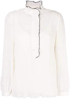 Tory Burch pleated ruffle trim blouse