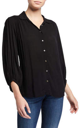 Velvet 3/4-Sleeve Button-Front Challis Top