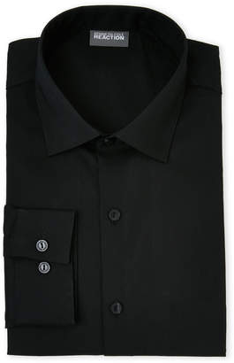 Kenneth Cole Reaction Black Solid Stretch Slim Fit Dress Shirt