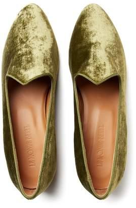 Le Monde Beryl Crushed Green Velvet Venetian Slipper
