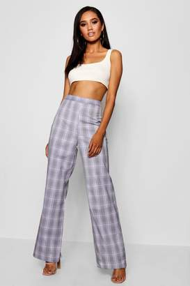 boohoo Petite Wide Leg High Waist Check Trouser
