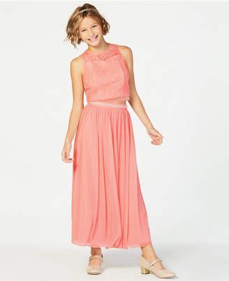 Sequin Hearts Big Girls 2-Pc. Lace Illusion Dress