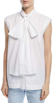 Escada Sleeveless Cotton Poplin Blouse with Tie