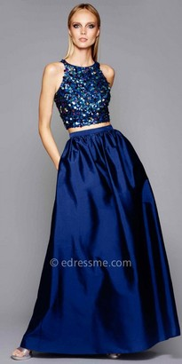 Adrianna Papell Multi Color Sequin Embellished Two Piece Evening Dress $299 thestylecure.com