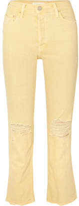 Mother The Tomcat Cropped Distressed High-rise Straight-leg Jeans - Pastel yellow
