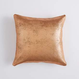 Pottery Barn Teen Faux Suede Metallic Pillow Cover, 18 x 18, Rose Gold