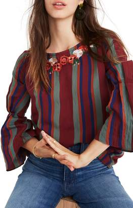 Madewell Embroidered Pleat Sleeve Top