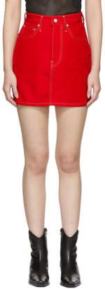 Helmut Lang Red Denim Femme Hi Miniskirt