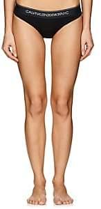 Calvin Klein Women's Logo Cotton-Blend Bikini Briefs - Black