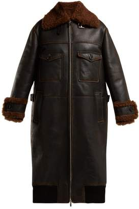 Miu Miu Patch Pocket Long Shearling Coat - Womens - Black Brown