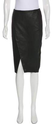 Alice + Olivia Asymmetrical Leather-Paneled Skirt
