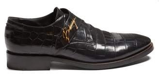 Balenciaga - Crocodile Effect Leather Derby Shoes - Mens - Black