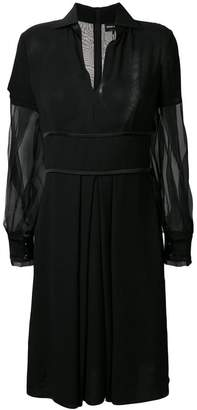Giorgio Armani v-neck sheer sleeves dress