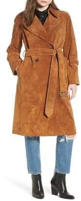 AVEC LES FILLES Genuine Suede Trench Coat