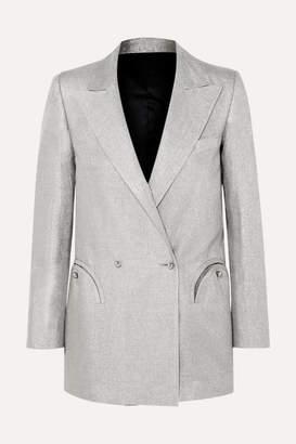 Blazé Milano Everyday Double-breasted Metallic Linen-blend Blazer