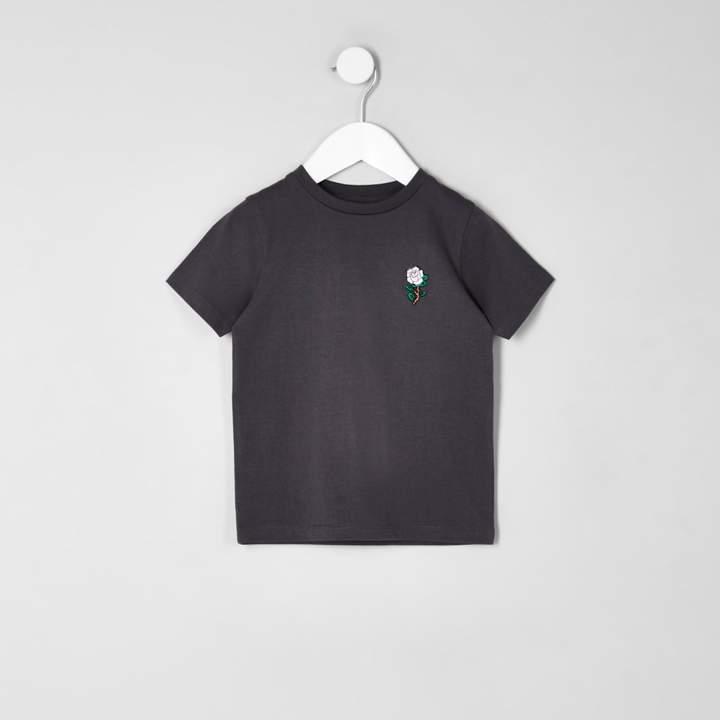 Mini boys Khaki rose embroidered T-shirt