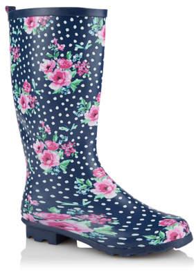 George Navy Polka Dot Floral Wellington Boots