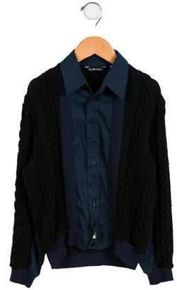 La Miniatura Boys' Knit Button-Up Shirt