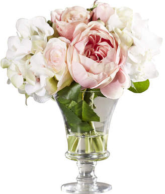 One Allium Way Faux Rose and Hydrangea Bouquet in Pedestal Glass Vase