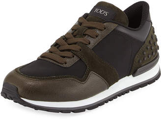 Tod's Men's Nylon & Leather Trainer Sneakers Black/Green
