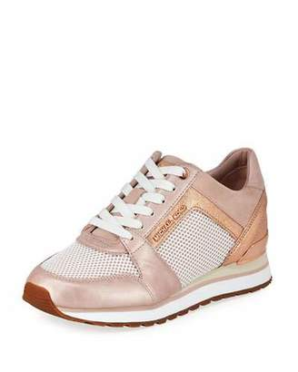 MICHAEL Michael Kors Billie Metallic Leather/Suede Trainer Sneakers