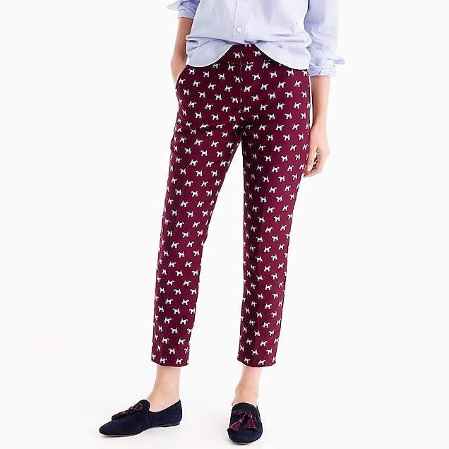 Tall cropped pant in terrier jacquard