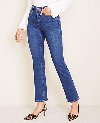 Ann Taylor Tall Curvy Sculpting Pockets High Rise Straight Leg Jeans in Indigo Wash