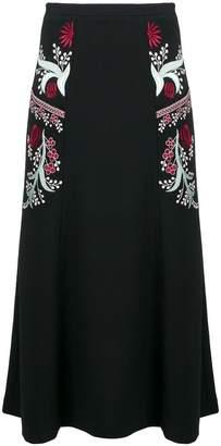 Vilshenko embroidered floral details a-line skirt