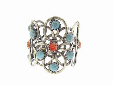Gas Bijoux Silver Plated Cuff with Faux Turquoise and Coral